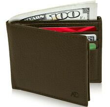 Genuine Leather RFID Blocking Bifold Wallet For Men With Flip-Up ID Window
