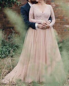 New Hot Plus Size White/Ivory Long Sleeves Wedding Dress Custom Size 16-28+++