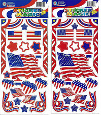 USA Flag Sticker Sheets Lot of 2 United States Patriotic Themed Stickers