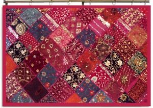 """60"""" PINK PATCHWORK EMBROIDERED SARI WALL HANGING DÉCOR TAPESTRY THROW STUNNING"""