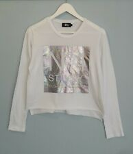 STUSSY // Size 10 // White Crop Holographic Print Long Sleeve Tee