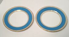"Mintons Pair of Celeste Blue & Gold 8-3/4"" Dinner Plates ca. 1890/1926"