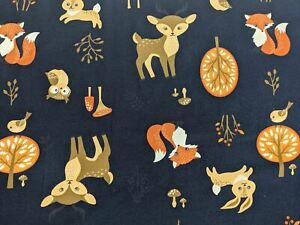 Forest Animal Cotton Jersey Navy Blue (By the Half Metre) Fabric Fox Deer Rabbit