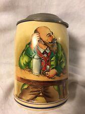 Vintage German .5L Beer Stein Mug~ Alpine Man Smoking Pipe ~ Pewter Lid~ BW77