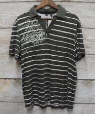David Bitton Medium Shirt Gray Striped V Neck Short Sleeve Collar Men W81 Clothing, Shoes & Accessories Casual Button-down Shirts