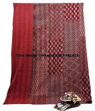Patchwork Indian Kantha Quilt Queen Size Bedspread Cotton Blanket Bedding Throw