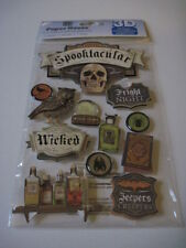 Scrapbooking Stickers 3D Paper House Halloween Spooktacular Poison Bottles Skull