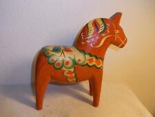 "Vintage Sweden Folk Art 7"" Dala Horse Nils Olsson Hand Painted #CI"