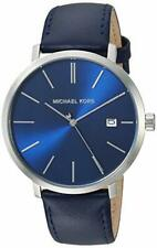 Michael Kors Men's Blake Stainless Steel Quartz Watch with Leather Strap - Blue