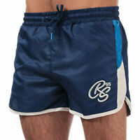 Mens Crosshatch Barli Shorts In Blue- Ribbed Waistband- External Drawstrings-