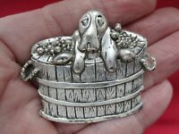Vintage Jewellery Adorable Silver Tone Hound Dog In Barrel Animal Brooch Pin