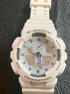 Casio G-Shock  Ga-100B White/Purple Working
