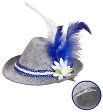 Mini Fedora Sombrero edelweiß gris azul Oktoberfest, primavera Enganche pelo