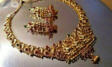 ANTIQUE TEMPLE JEWELRY DESIGN - ONE GRAM GOLD COATED NECKLACE AND JUMKA SET