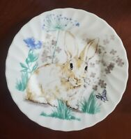 NEW (2) ROYAL WESSEX EASTER BUNNY SPRING FLORAL SALAD PLATES HOME DECOR