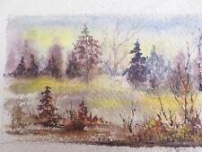 """Miniature Watercolor Landscape Painting - Signed - Vintage 1973 - 5"""" X 3.5"""""""