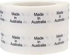 White with Black Made in Australia Circle Stickers, 1/2 Inch Round, 1,000 Labels