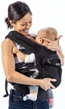Mo+m Baby Carrier (Black) Soft Structured Sling w/ Cooling Vent, Hood & Pockets