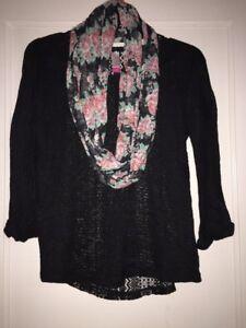 NO BOUNDARIES LOVELY Black HI LO HEM KNIT TOP See Through Size S W/scarf