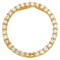 "14k Yellow Gold 0.45 ct Daimond Eternity Circle Pendant Charm 3/4"" 1.1 gr"