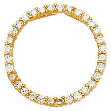 "14k Yellow Gold 0.45 ct Daimond Eternity Circle Pendant Charm 3/4"" 1.1 gr"