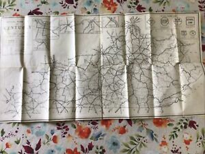 """1931 Kentucky State Highway Department Road Conditions Map 30"""" x 17"""" Vtg Antique"""