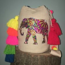 authentic 100%  Wayuu Mochila Colombian bag Large lux boho elephant tier tassels