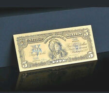 ☆AMAZING DETAIL☆ 《1899 SILVER CERTIFICATE》 INDIAN CHIEF  $5 Rep.*Banknote! xmas