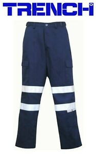 2 Pairs - Light Weight Cotton Cargo Pants With 3M Reflective Tape - Navy