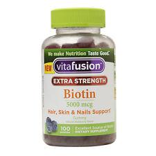Vitafusion Extra Strength Biotin 5000 mcg, Blueberry 100 ea
