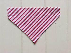 Handmade Dark Pink Stripe Over Collar Dog Bandana - x-small