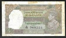 INDIA Paper Money - Old 5 Rupees Note - 1937 - P18a - F/VF