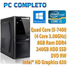 PC COMPUTER DESKTOP FISSO WINDOWS 10 INTEL QUAD CORE i5-7400 RAM 8GB SSD 240GB