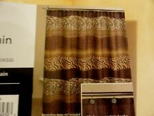 new 13 pc JUNGLE print Wild Animal ZEBRA~LEOPARD  Fabric SHOWER CURTAIN HOOKS