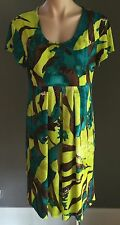 Stunning ME FIRST Jade, Brown & Lime Green Empire Waist Dress Plus Size 18