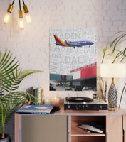 "Southwest Boeing 737 over Dallas Love Fied Art - 18"" x 24"" Poster"