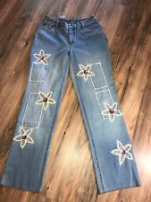 Newport News Jeanology Womens Size 8 Hippy Flower Sequins Beads Faded Jeans NWT