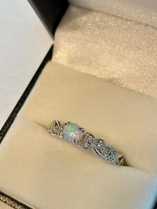 Iridescent Fire Opal, White Topaz Ring, Floral Design Rhodium Plated Band Size 8