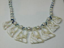 "White Seashell Cross Section Top Shell Faux Pearl bead 19"" Necklace 7k 48"