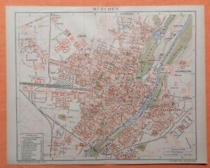 MÜNCHEN  Haidhausen Giesing Bogenhausen mit Strassenregister Stadtplan von 1894
