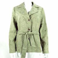 Per Una UK 14 Khaki Green Floral Jacket / Coat with Belt Button up Cotton Blend