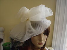 STUNNING PLEATED CREAM MESH WITH FAUX PEARLS AMIESE FASCINATOR