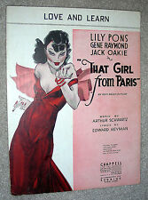 1936 LOVE AND LEARN Sheet Music THAT GIRL FROM PARIS by Schwartz, Heyman
