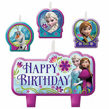4 Piece Disney Frozen Anna Elsa Olaf Happy Birthday Cake Party Candles