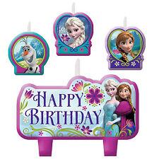 4 Piece Disney Frozen Anna Elsa Olaf Happy Birthday Cake Party Candles