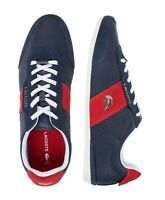 Lacoste Men Shoes Oreno 0120 Navy Blue Red  Leather Fashion Casual Sneakers NEW