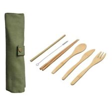 6pc Reusable Eco Bamboo Cutlery Set Travel Pouch, Portable Wooden Fork Spoon Kit