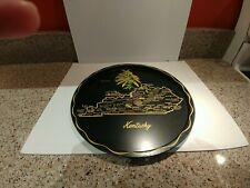 "Vintage Kentucky Black Metal 11""Round Souvenir Tray State Map State Flower"