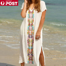 Women's Summer Boho Long Kaftan Maxi Dress Evening Cocktail Party Beach Dress LG