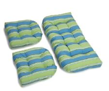 Outdoor All Weather 3pc Wicker Settee Chair CUSHION SET Blue Green Stripe